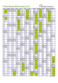 Ferienkalender 2015 für Baden-Württemberg - A4 hoch-einseitig