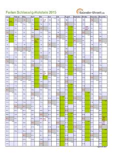 Ferienkalender 2015 für Schleswig-Holstein - A4 hoch-einseitig