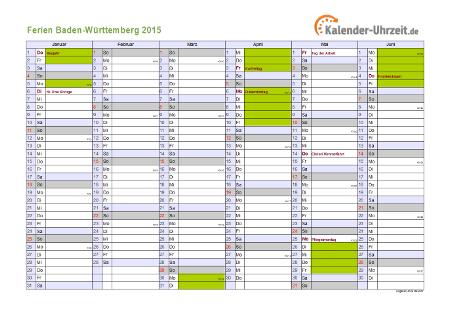 Ferienkalender 2015 für Baden-Württemberg - A4 quer-zweiseitig