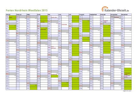 Ferienkalender 2015 für Nordrhein-Westfalen - A4 quer-einseitig