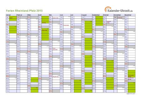 Ferienkalender 2015 für Rheinland-Pfalz - A4 quer-einseitig
