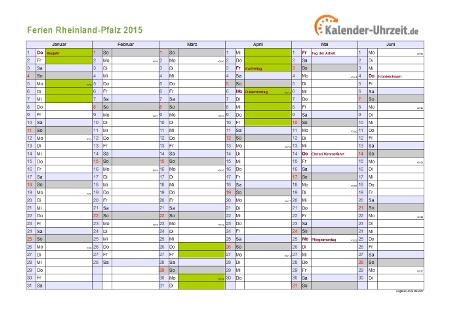 Ferienkalender 2015 für Rheinland-Pfalz - A4 quer-zweiseitig