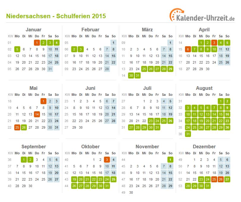 Ferienkalender 2015 Niedersachsen als Excel oder PDF ausdrucken