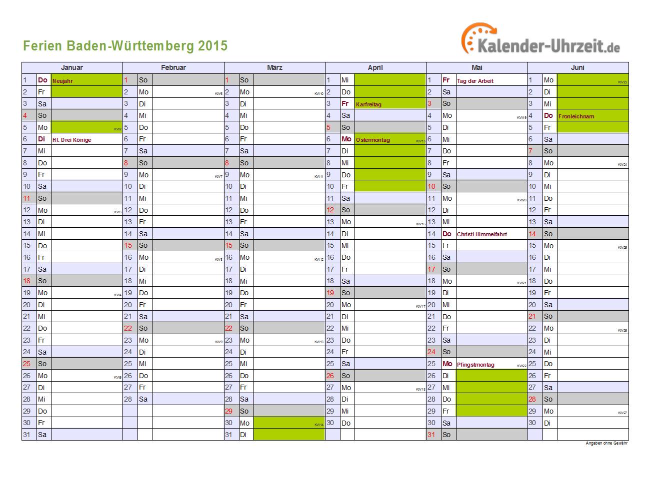 Ferien Baden-Württemberg 2015 - Ferienkalender zum Ausdrucken