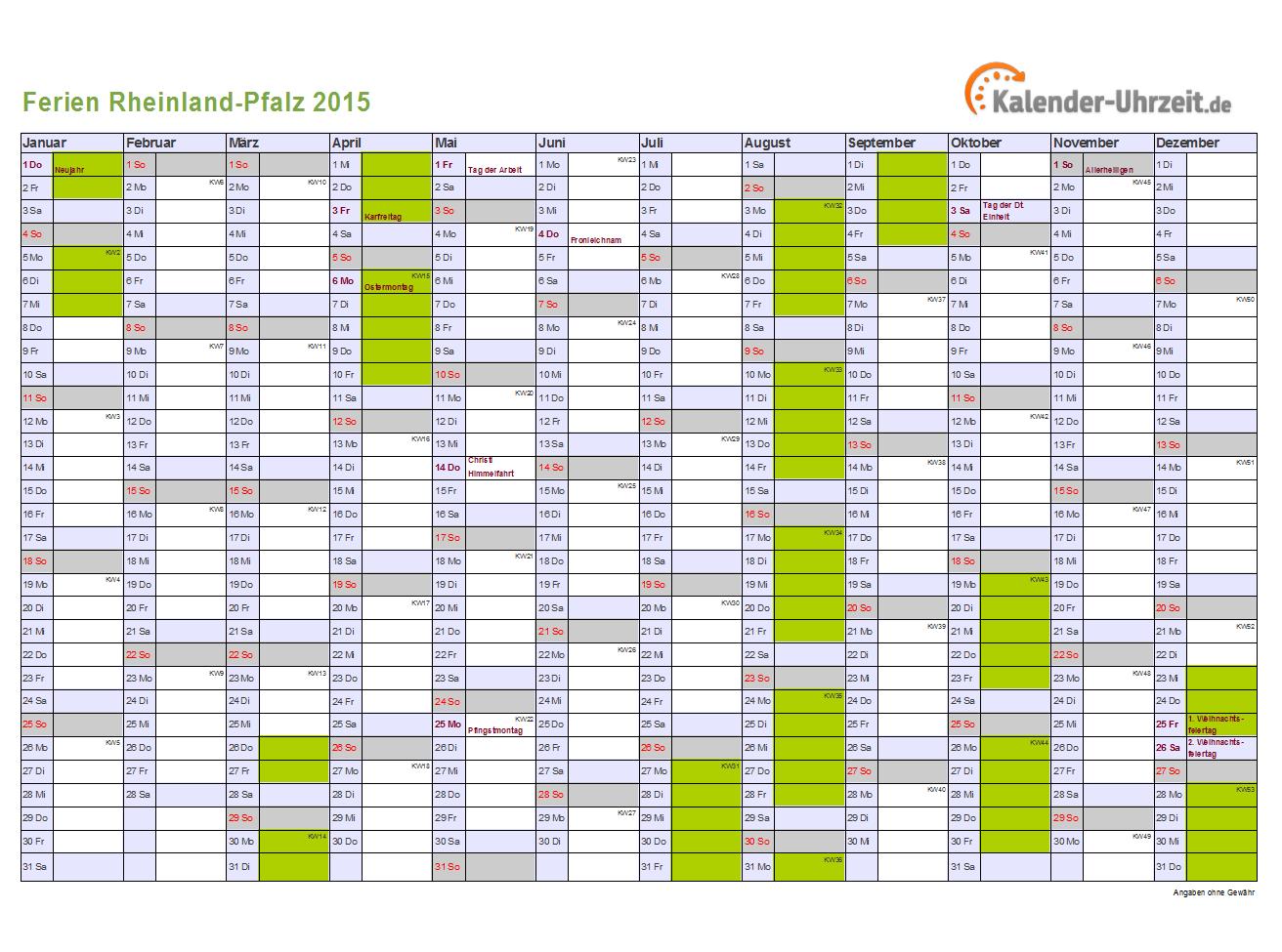 Ferien Rheinland-Pfalz 2016 - Ferienkalender zum Ausdrucken
