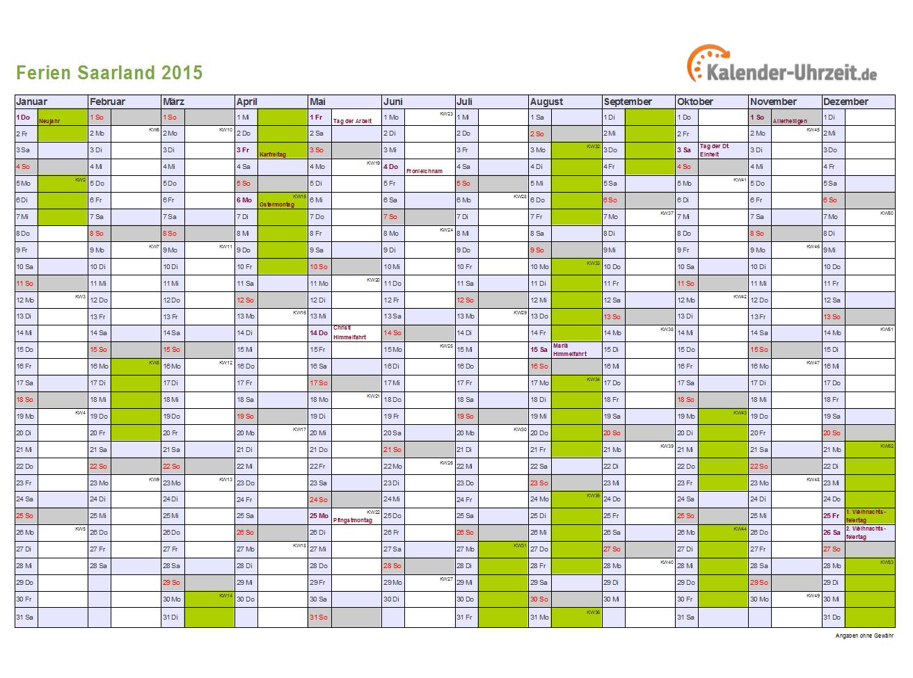 Kalender 2015 Saarland mit Ferien als Excel oder PDF ausdrucken DIN A4 ...