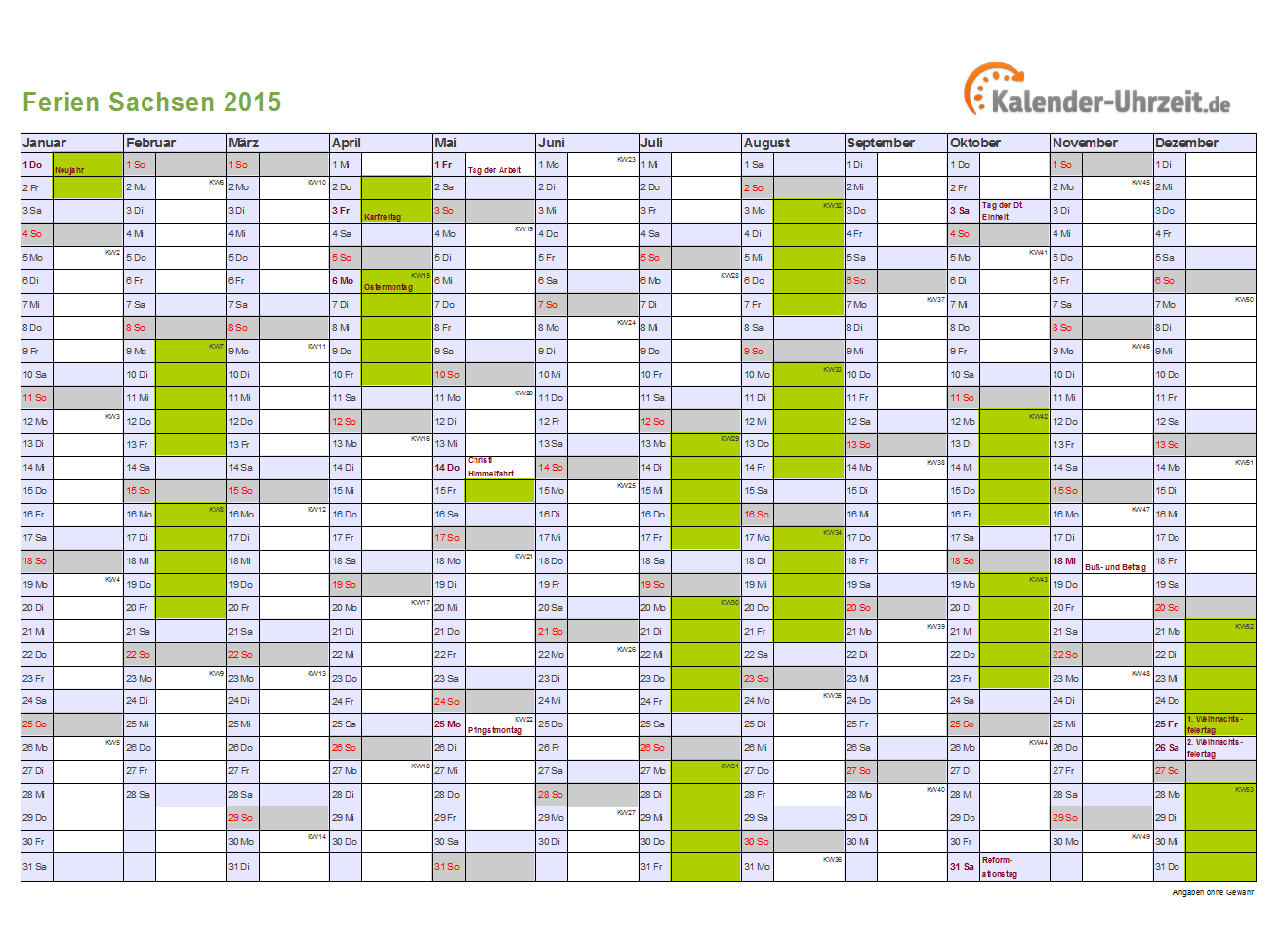 Ferien Sachsen 2015 Ferienkalender Zum Ausdrucken