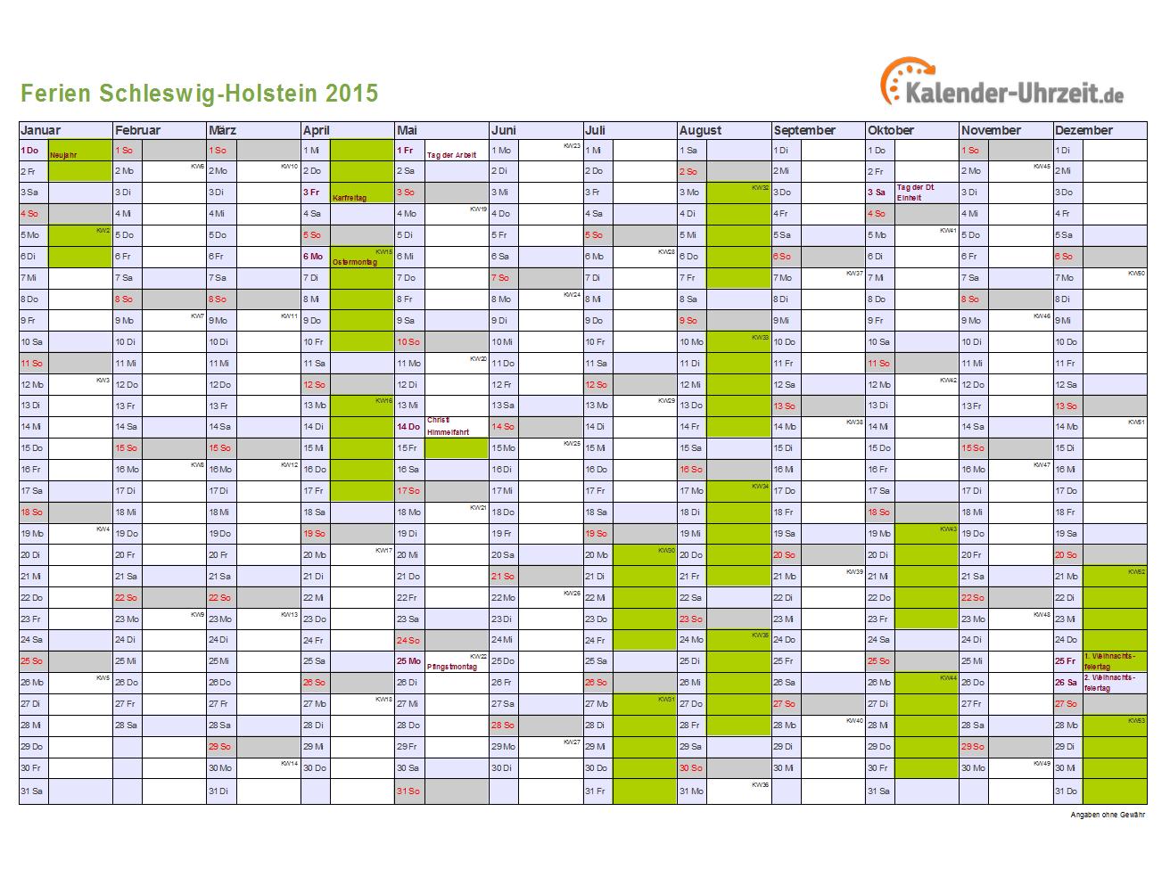 Ferienkalender 2015 für Schleswig-Holstein - A4 quer-einseitig