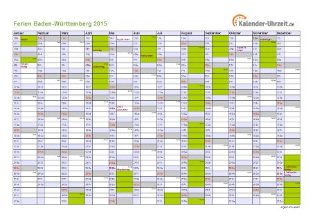 Ferienkalender 2015 für Baden-Württemberg - A4 quer-einseitig