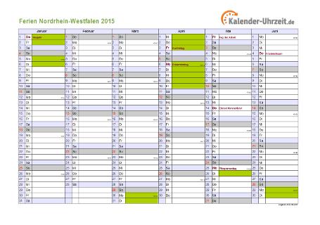 Ferienkalender 2015 für Nordrhein-Westfalen - A4 quer-zweiseitig