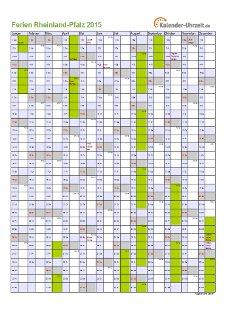 Ferienkalender 2015 für Rheinland-Pfalz - A4 hoch-einseitig