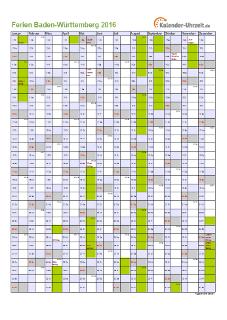 Ferienkalender 2016 für Baden-Württemberg - A4 hoch-einseitig