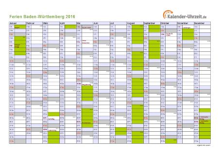 Ferienkalender 2016 für Baden-Württemberg - A4 quer-einseitig