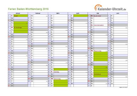 Ferienkalender 2016 für Baden-Württemberg - A4 quer-zweiseitig
