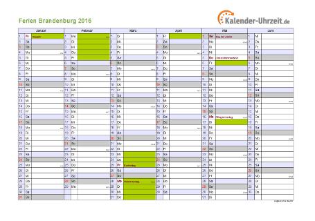 Ferienkalender 2016 für Brandenburg - A4 quer-zweiseitig