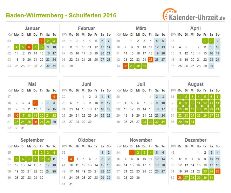 Kalender 2016 Mit Schulferien Baden-Württemberg 2016 - Ferien