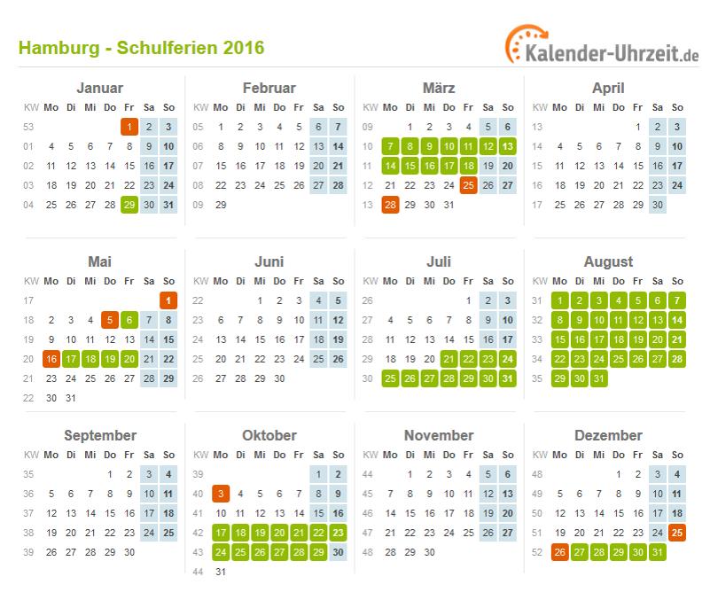 Kalender 2016 Hamburg: Ferien, Feiertage, Excel-Vorlagen