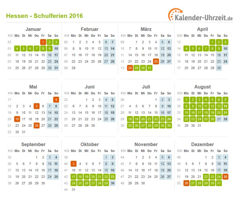 Ferien Hessen 2016 Ferienkalender Zum Ausdrucken