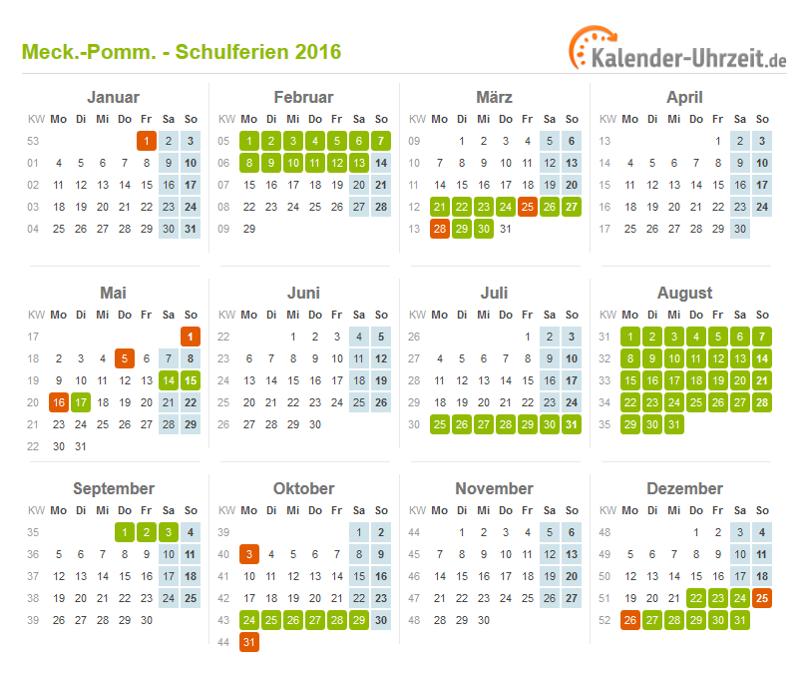 Ferien Meck Pomm 2016 Ferienkalender Zum Ausdrucken