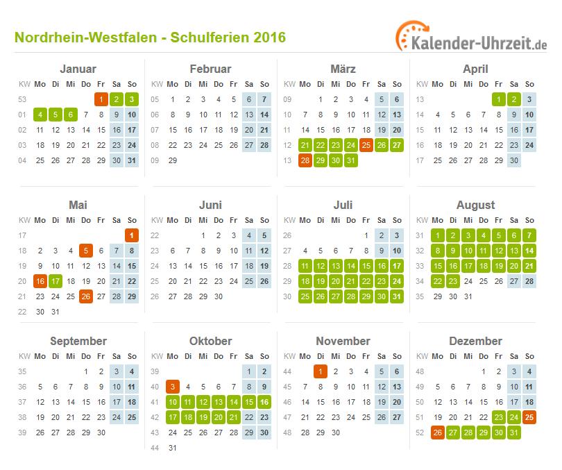 ferien nordrhein westfalen 2016 ferienkalender zum. Black Bedroom Furniture Sets. Home Design Ideas
