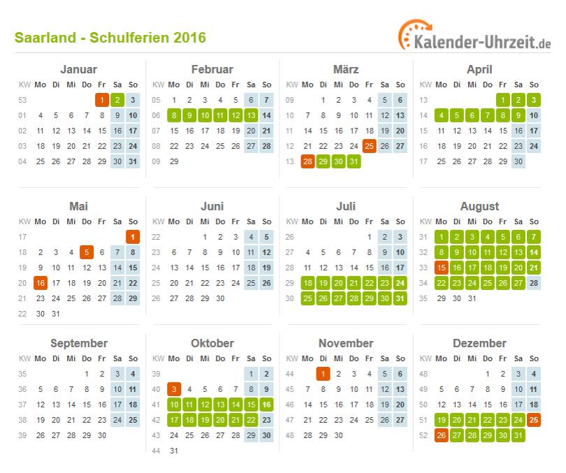 Ferien Saarland 2016 - Ferienkalender zum Ausdrucken