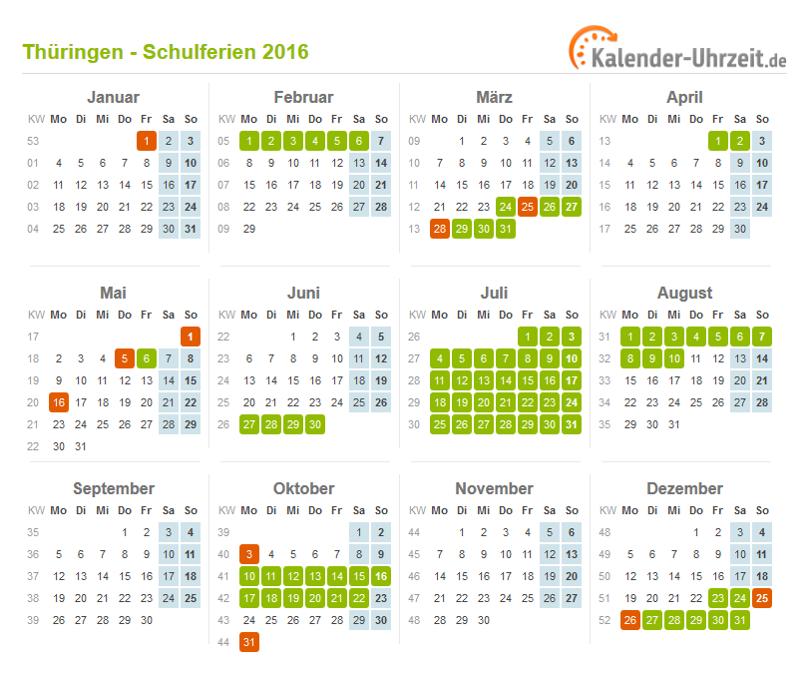 Ferien Thüringen 2016 - Ferienkalender zum Ausdrucken