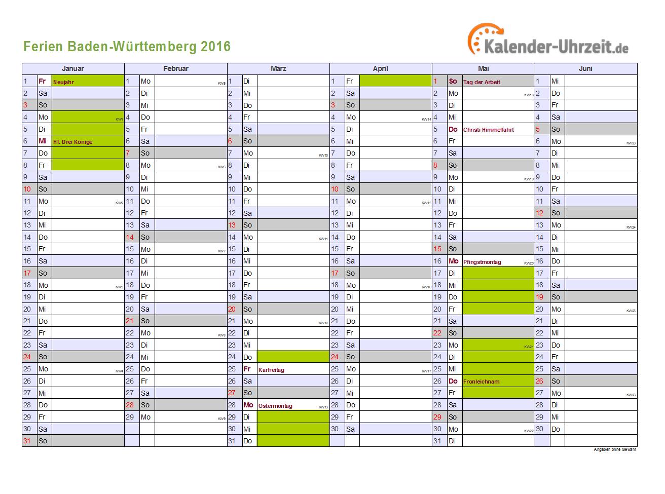 2016 Jahreskalender Online Zum Ausdrucken | Calendar Template 2016