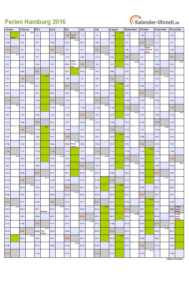 Schulkreis.de Schulferien-Kalender Hamburg 2016 Feiertage,Ferien