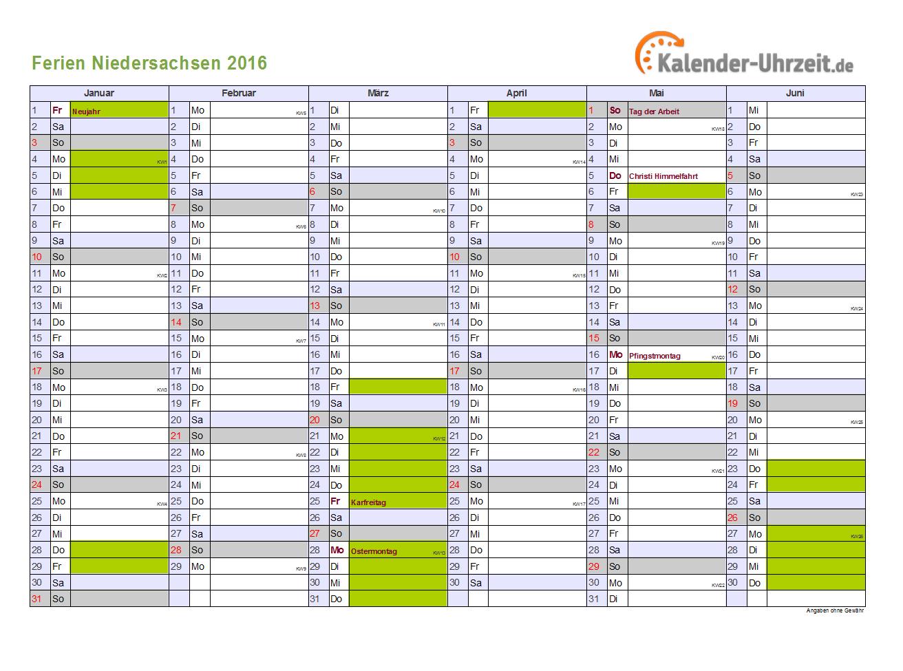 Ferienkalender 2016 Niedersachsen - DIN A4 Querformat, 2-seitig