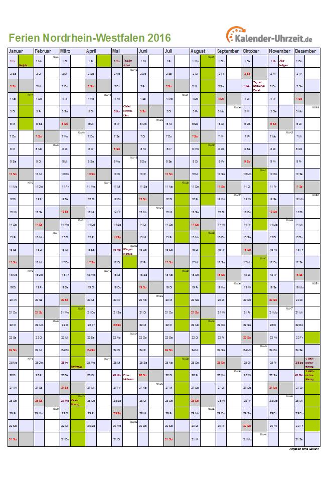De Schulferien Kalender Nrw Nordrhein Westfalen 2016 Feiertage Feri ...