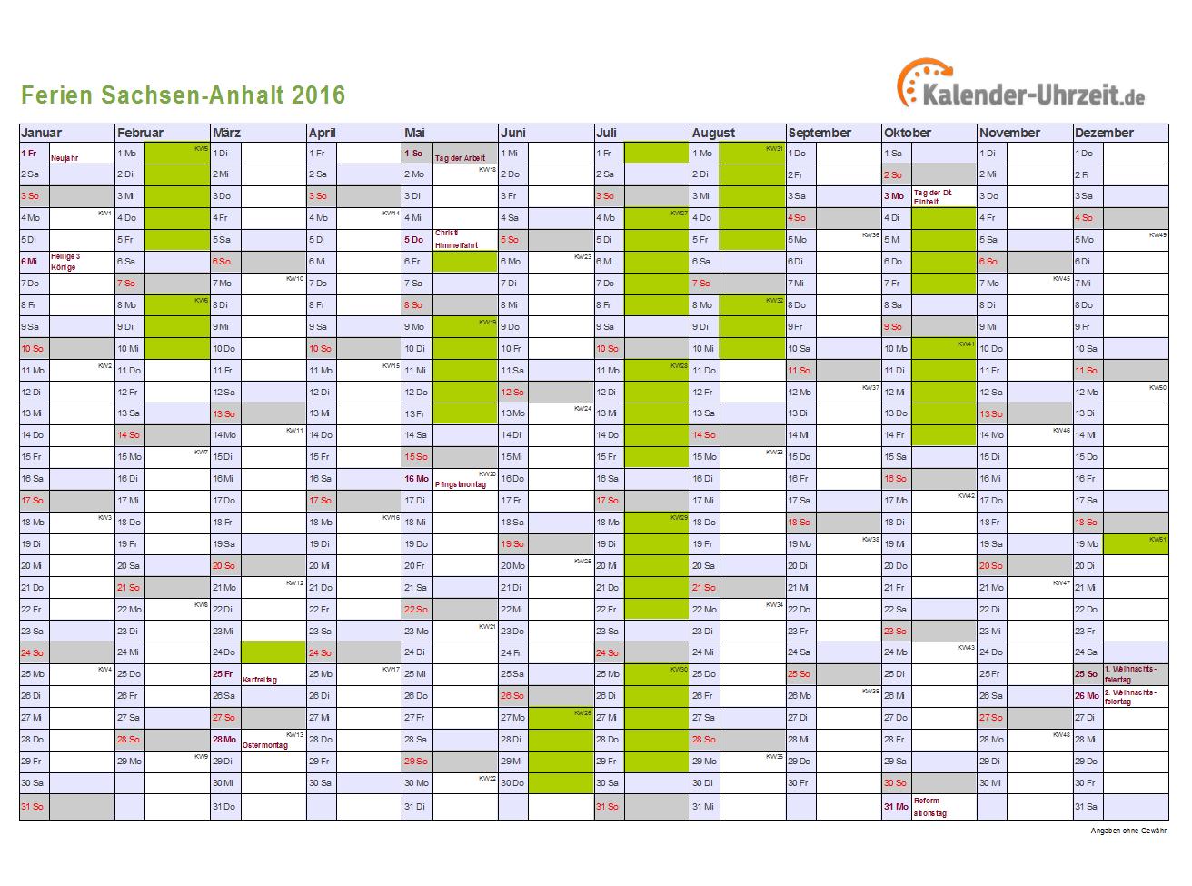 Ferienkalender 2016 für Sachsen-Anhalt - A4 quer-einseitig
