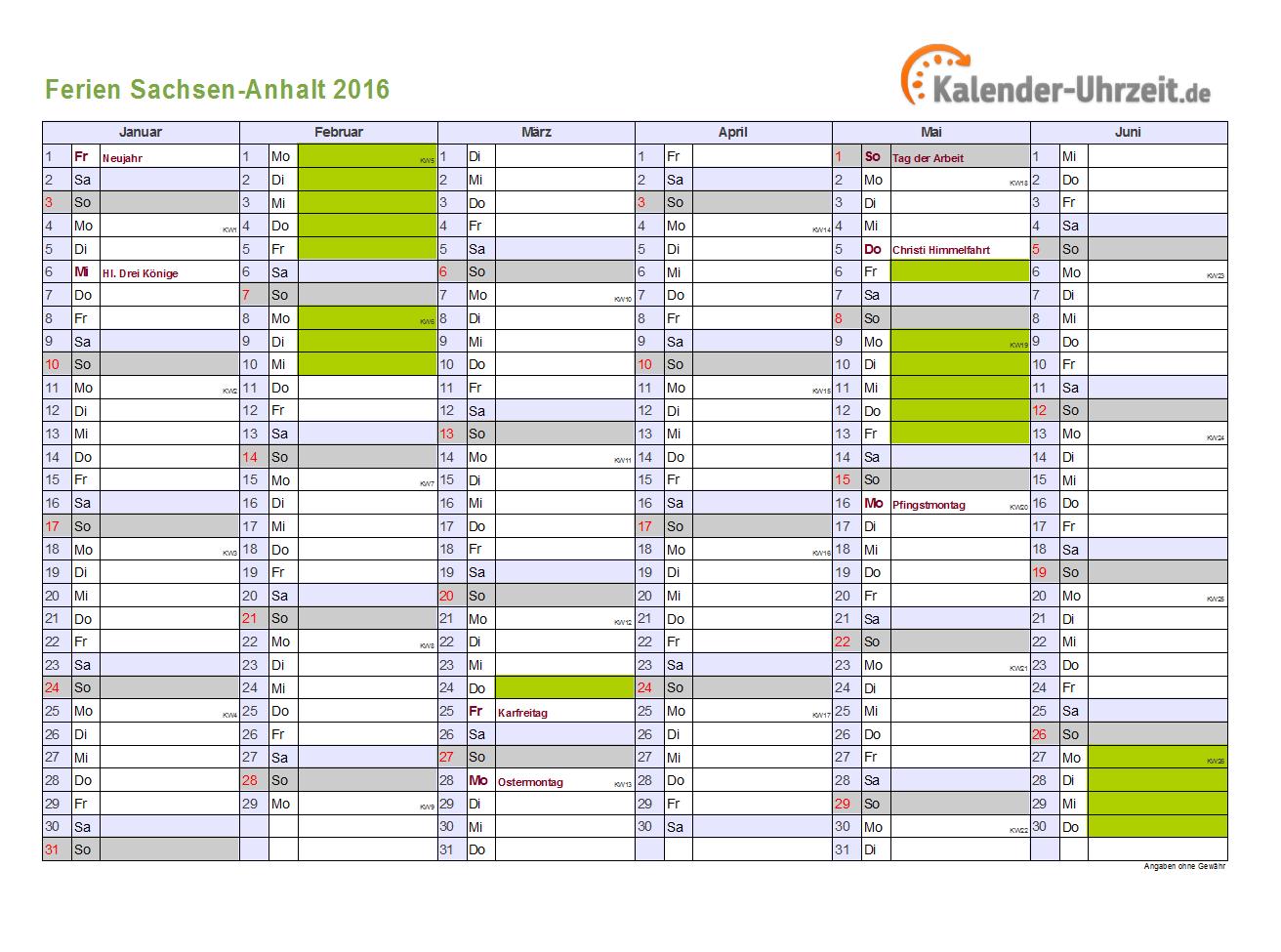Ferien 2016 Sachsen-Anhalt Halbjahreskalender - DIN A4 Querformat, 2 ...