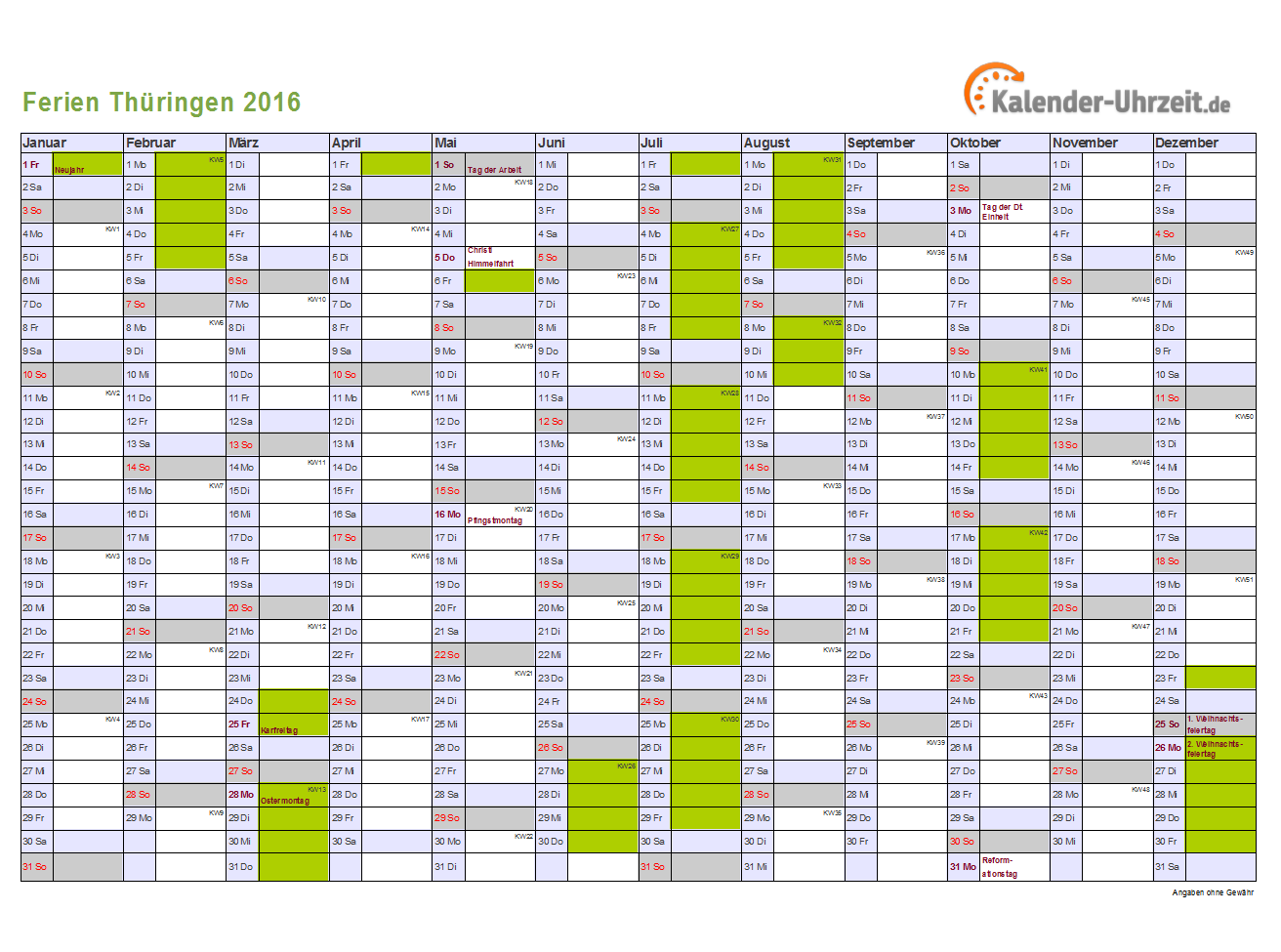 Ferienkalender Thüringen 2016 zum Ausdrucken und Downloaden