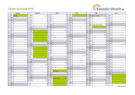 Ferienkalender 2016 für Sachsen - A4 quer-zweiseitig