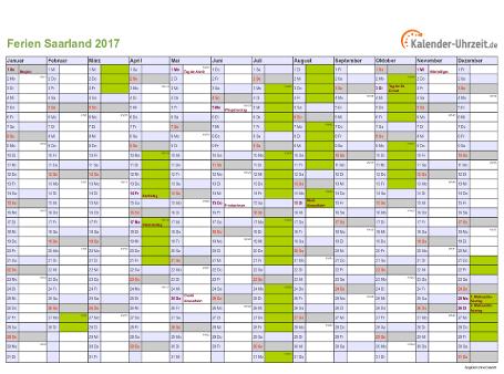 Ferienkalender 2017 für Saarland - A4 quer-einseitig