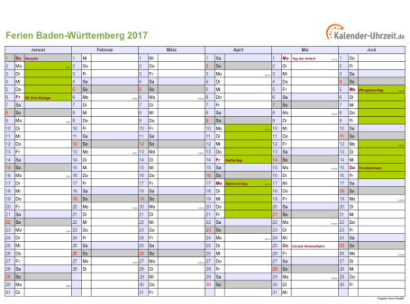 Ferienkalender 2017 für Baden-Württemberg - A4 quer-zweiseitig
