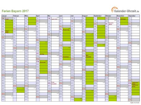 Ferienkalender 2017 für Bayern - A4 quer-einseitig