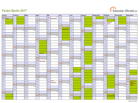 Ferienkalender 2017 für Berlin - A4 quer-einseitig