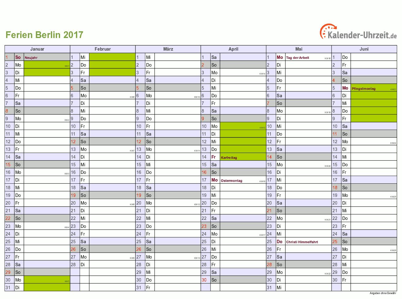 Ferien Berlin 2017 Ferienkalender Zum Ausdrucken