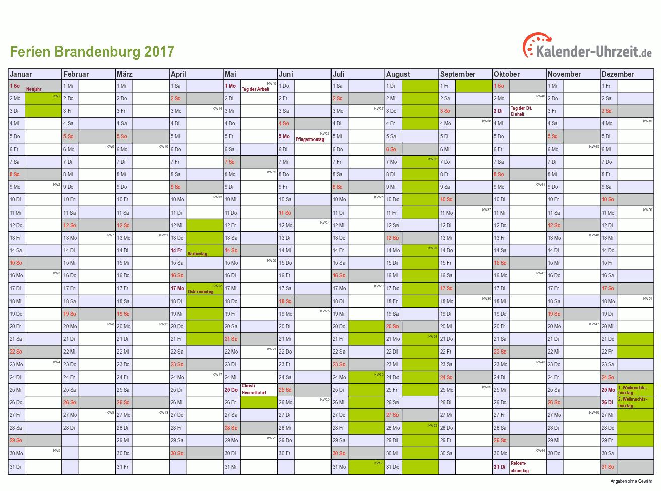 Ferien 2017 Brandenburg