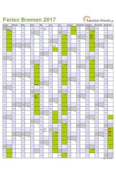 Ferienkalender 2017 für Bremen - A4 hoch-einseitig