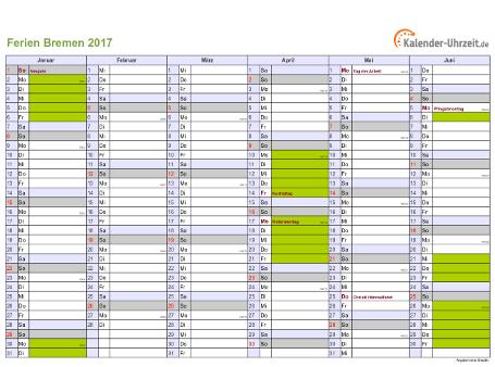 Ferienkalender 2017 für Bremen - A4 quer-zweiseitig