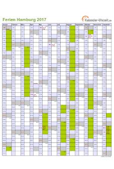 Ferienkalender 2017 für Hamburg - A4 hoch-einseitig