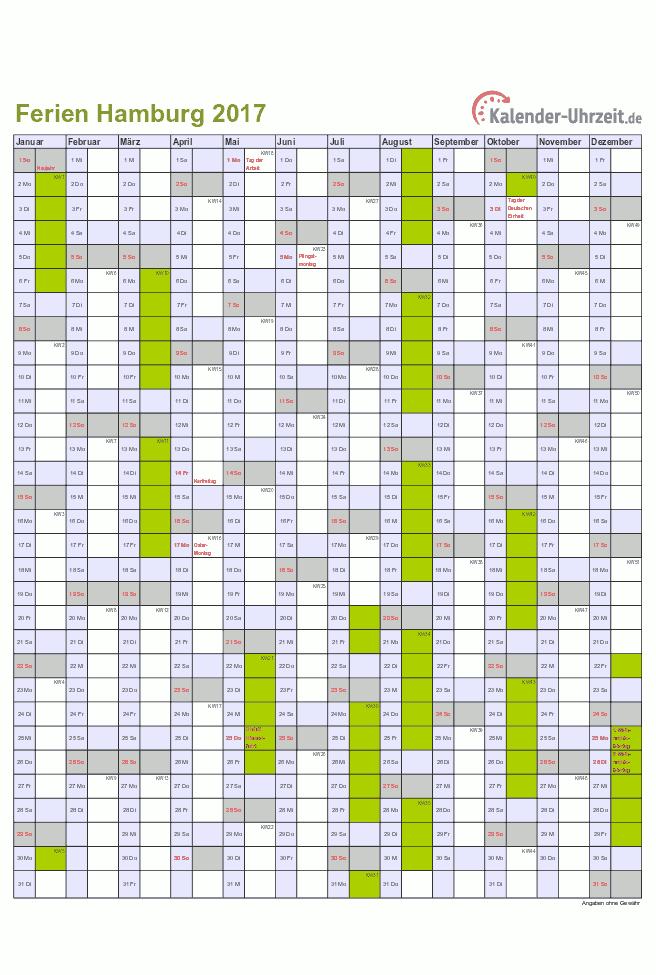 Jahreskalender 2017 Hamburg mit Ferien als Excel oder PDF ausdrucken ...