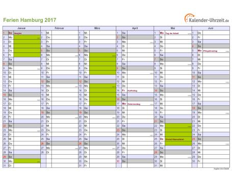 Ferienkalender 2017 für Hamburg - A4 quer-zweiseitig