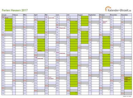Ferienkalender 2017 für Hessen - A4 quer-einseitig