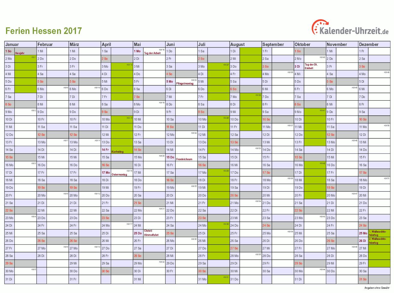 Ferien 2017 Hessen