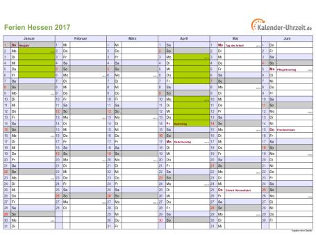 Ferienkalender 2017 für Hessen - A4 quer-zweiseitig