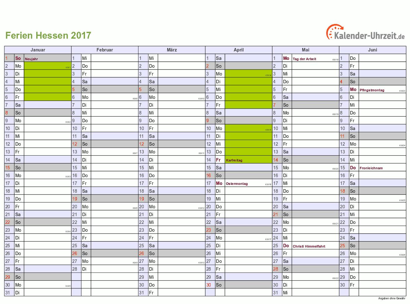 Ferien 2017 Hessen Halbjahreskalender - DIN A4 Querformat, 2-seitig