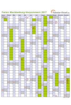 Ferienkalender 2017 für Meck.-Pomm. - A4 hoch-einseitig